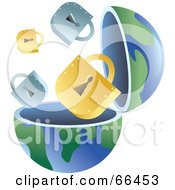 Royalty Free RF Clipart Illustration Of An Open Globe With Padlocks by Prawny