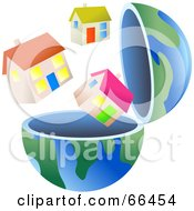 Royalty Free RF Clipart Illustration Of An Open Globe With Homes by Prawny