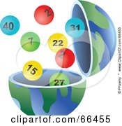 Royalty Free RF Clipart Illustration Of An Open Globe With Lottery Balls by Prawny