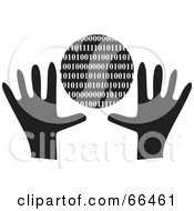 Royalty Free RF Clipart Illustration Of Black And White Hands With A Binary Globe