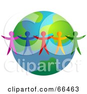 Royalty Free RF Clipart Illustration Of Colorful People Standing Around An Earth Globe Version 3