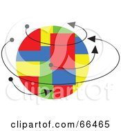 Royalty Free RF Clipart Illustration Of Arrows Around A Colorful Patch Globe