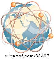 Royalty Free RF Clipart Illustration Of A Blue Globe With Molecules by Prawny