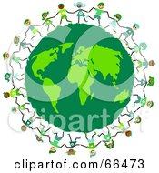 Royalty Free RF Clipart Illustration Of Kids Circling A Green Earth Globe