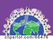 Royalty Free RF Clipart Illustration Of Happy Kids Around A Global Earth Over Purple