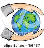 Royalty Free RF Clipart Illustration Of Hands Holding A Blue Globe