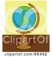 Royalty Free RF Clipart Illustration Of A Mounted Globe On A Desk by Prawny