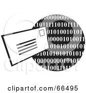 Envelope And Black And White Binary Globe
