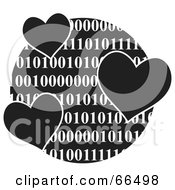 Royalty Free RF Clipart Illustration Of A Black And White Globe Of Binary With Hearts