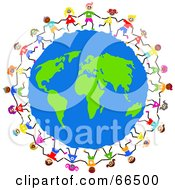 Royalty Free RF Clipart Illustration Of Global Kids Circling Earth by Prawny #COLLC66500-0089
