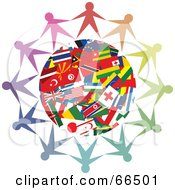 Royalty Free RF Clipart Illustration Of A Circle Of People Holding Hands Around A World Flag Globe