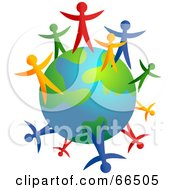 Royalty Free RF Clipart Illustration Of Colorful People Standing Around An Earth Globe Version 2 by Prawny #COLLC66505-0089