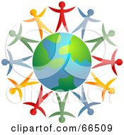 Royalty Free RF Clipart Illustration Of Colorful People Standing Around An Earth Globe Version 1