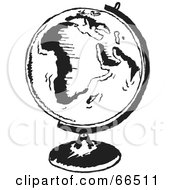 Royalty Free RF Clipart Illustration Of A Black And White Mounted Globe