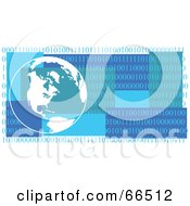 Royalty Free RF Clipart Illustration Of A Blue Globe Header With Binary