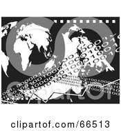 Black And White Background Of Binary Lines And A Globe