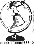 Royalty Free RF Clipart Illustration Of A Black And White Mounted Globe Featuring America