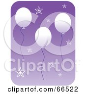Royalty Free RF Clipart Illustration Of Floating White Balloons And Stars Over Purple by Prawny