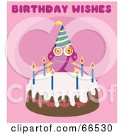 Royalty Free RF Clipart Illustration Of A Birthday Bug With A Cake On Pink With Birthday Wishes Text by Prawny