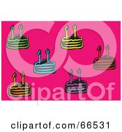 Royalty Free RF Clipart Illustration Of Colorful Birthday Cakes Over Pink by Prawny