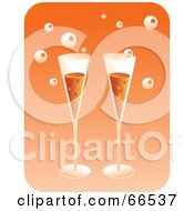 Royalty Free RF Clipart Illustration Of Two Champagne Flutes With Bubbles Over Orange by Prawny