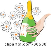 Royalty Free RF Clipart Illustration Of A Hand Holding A Champagne Bottle Over Daisies