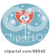 Royalty Free RF Clipart Illustration Of A Drunk Champagne Glass With Bubbles On Blue by Prawny