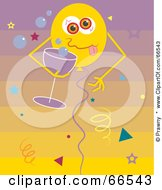 Royalty Free RF Clipart Illustration Of A Drunk Party Balloon With Champagne by Prawny