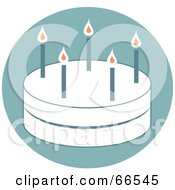 Royalty Free RF Clipart Illustration Of A White Two Layer Birthday Cake With Candles On Blue by Prawny