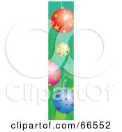 Side Banner Of Colorful Christmas Baubles On Green