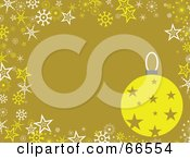 Bauble Christmas Background With Snowflakes And Stars On Green
