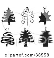 Digital Collage Of Black And White Christmas Trees
