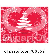 Red Christmas Background With Snowflakes And A Christmas Tree
