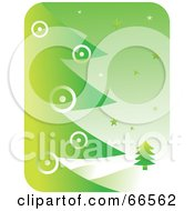 Royalty Free RF Clipart Illustration Of A Green Christmas Background Of A Tree And Snow by Prawny