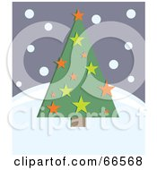 Royalty Free RF Clipart Illustration Of A Retro Green Christmas Tree With Stars On A Snowy Hill