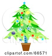 Royalty Free RF Clipart Illustration Of A Potted Christmas Tree With Colorful Decorations