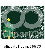 Royalty Free RF Clipart Illustration Of An Xmas Tree Christmas Background With Snowflakes And Stars On Green