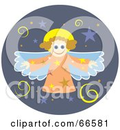Royalty Free RF Clipart Illustration Of A Christmas Angel Over A Purple Circle