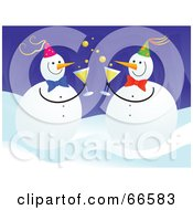 Royalty Free RF Clipart Illustration Of Party Snowmen Drinking Champagne