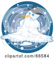 Royalty Free RF Clipart Illustration Of A Sad Snowman Melting Over A Blue Circle