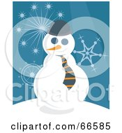 Royalty Free RF Clipart Illustration Of A Business Snowman Over A Blue Background With Snowflakes
