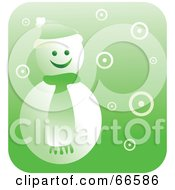 Royalty Free RF Clipart Illustration Of A Retro Green Snowman by Prawny
