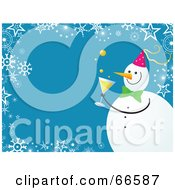 Royalty Free RF Clipart Illustration Of A Snowman Christmas Background With Snowflakes And Stars On Blue by Prawny