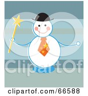 Royalty Free RF Clipart Illustration Of A Happy Snowman Holding A Wand