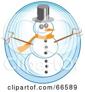 Royalty Free RF Clipart Illustration Of A Happy Snowman With Twig Arms Over A Blue Circle