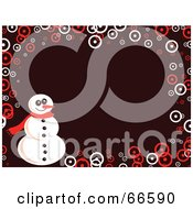 Royalty Free RF Clipart Illustration Of A Snowman Christmas Background With Circles On Brown