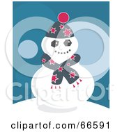 Royalty Free RF Clipart Illustration Of A Comfy Snowman In A Scarf On A Teal Background by Prawny