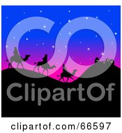 Royalty Free RF Clipart Illustration Of The Silhouetted Three Wise Men On Hills Under A Starry Sky by Prawny