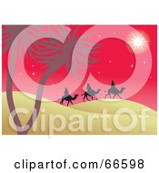 Royalty Free RF Clipart Illustration Of The Three Kings Under The Star Of Bethlehem On A Red Night