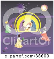 Royalty Free RF Clipart Illustration Of A Purple Nativity Scene And Star Of Bethlehem by Prawny